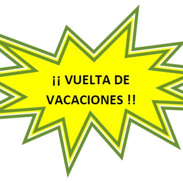 ESPECIAL VUELTA DE VACACIONES